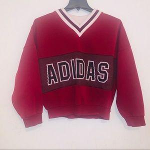 Vintage burgundy black v neck sweater m Adidas